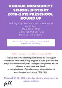 2018-2019 Preschool Round Up - Keokuk Community School District